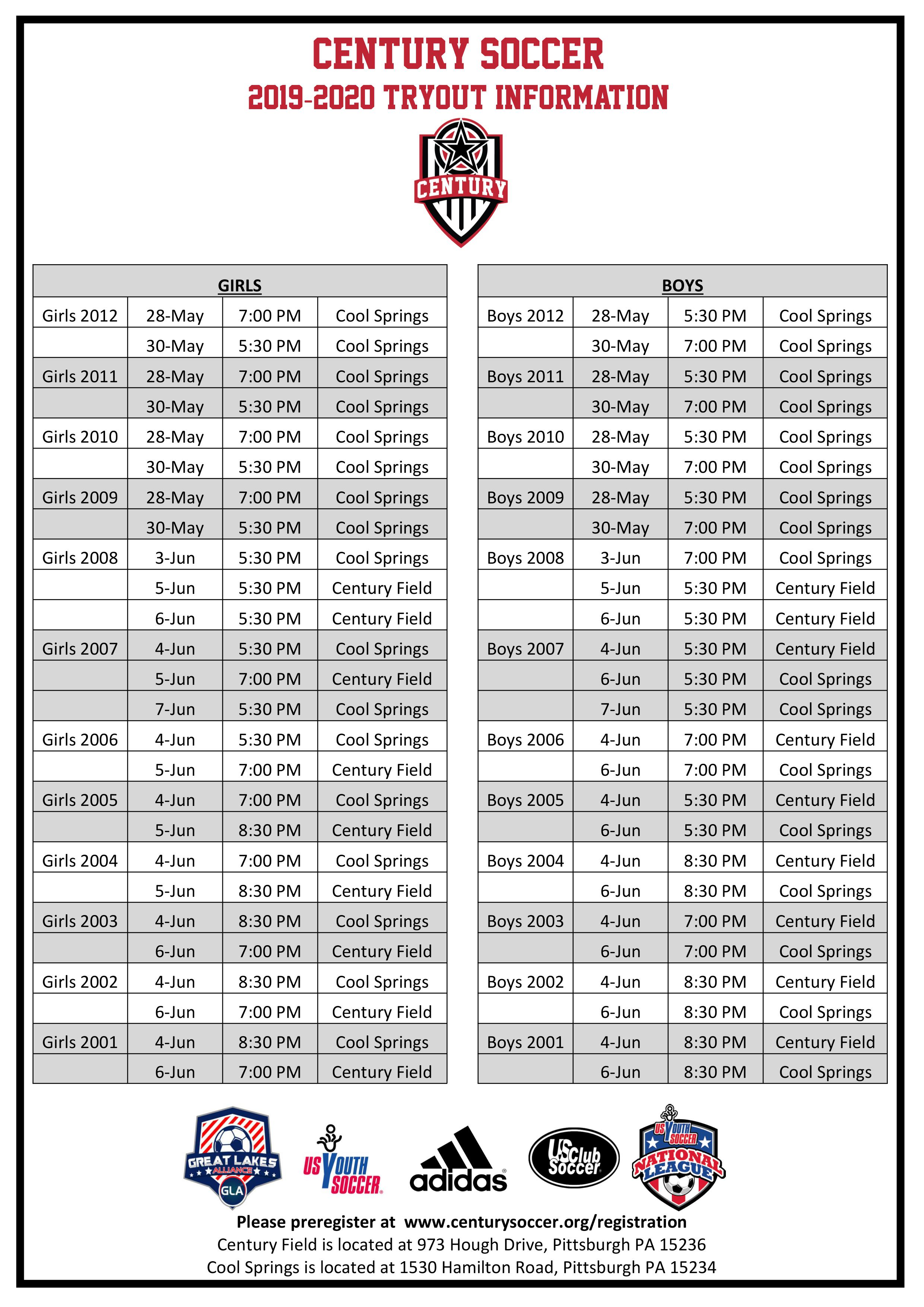 865bd29d7 Century South Tryout Information