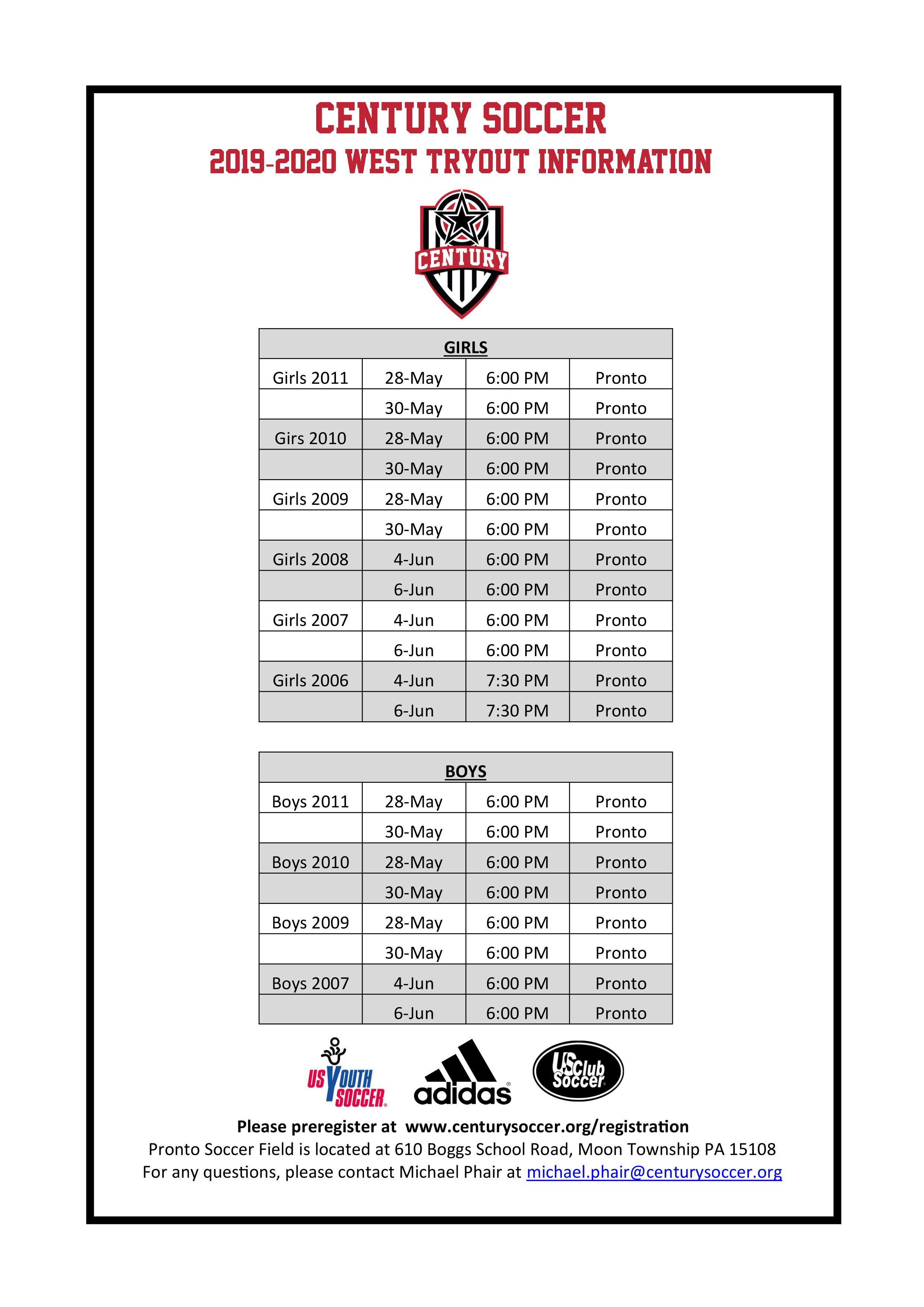 ***  Century West Tryout Information ***